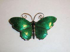 Vintage David Anderson Norway Sterling Silver Green Enamel Butterfly Brooch Pin | eBay