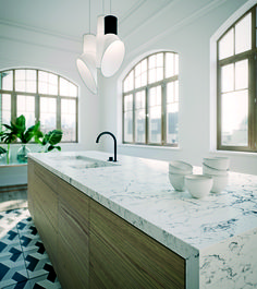 Now I am not sure on this one...  Caesarstone's White Attica - with built in sink