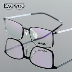 67474c98303 EAGWOO EMS Pure Titanium Eyeglasses Girl Men Full Rim Optical Frame  Prescription Spectacle Designed Myopia Eye