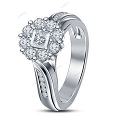 0.70 Ct. Princess & RD Cut Sim. Diamond W/Gold 925 FN Women's Engagement Ring #aonejewels #SolitairewithAccents