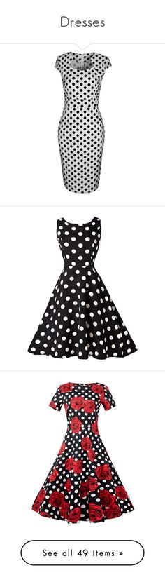 """Dresses"" by bleubeauty1 on Polyvore featuring dresses, black and white dress, body con dress, white and black polka dot dress, vintage cotton dress, vintage dresses, black, polka dot a line dress, a line mini dress and sleeved dresses"