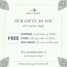 Such great deals! And this weekend there is but two get one free! (Thursday November 13th through Monday November 17th) shop at chloeandisabelbyalyssa.net