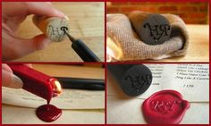 DIY Wax Seal Use buttons around your house to create your own wax seals! Diy Arts And Crafts, Cute Crafts, Diy Craft Projects, Diy Stamps, Diy Wax, Wax Seal Stamp, Before Wedding, Paper Cards, Wooden Diy