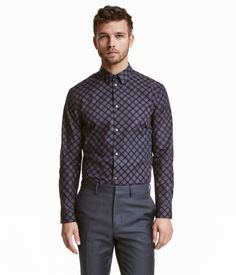 Dark blue/patterned. PREMIUM QUALITY. Long-sleeved shirt in premium cotton fabric with a printed pattern and a narrow turn-down collar. Slim fit.
