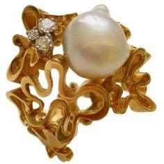 GILBERT ALBERT,18k Gold, Diamond and South Sea Pearl Ring