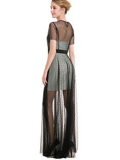 2e10622e0d Elegant Round Neck Half Sleeve Split Joint Net Yarn Loose Maxi Dress