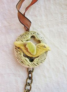 Bird in his nest toggle clasp by Sheri Mallery