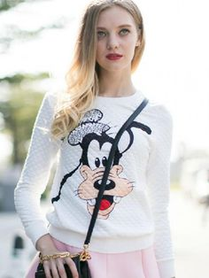 Buy White Embossed Sweatshirt With Disney Pattern from abaday.com, FREE shipping Worldwide - Fashion Clothing, Latest Street Fashion At Abaday.com