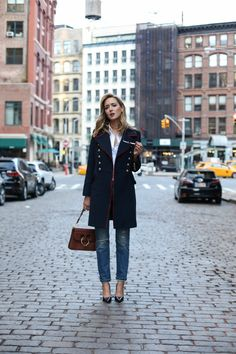 navy-red-gold-button-military-long-coat-ripped-jeans-navy-patent-pumps-j-w-anderson-pierce-brown-medium-bag-white-shirt-business-casual-fashion-blog-nyc1