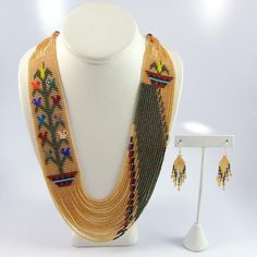 Az Beaded Necklace and Earring Set Rena Charles Seed Bead Necklace, Bead Earrings, Beaded Necklace, Necklaces, Beaded Jewelry Designs, Handmade Jewelry, Brick Stitch Earrings, Bead Embroidery Jewelry, Woven Bracelets