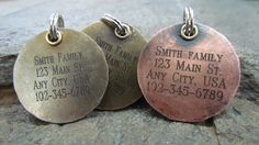 Pet ID Tag  Pet Tag  Nickel/Silver Copper or by themadstampers, $9.00