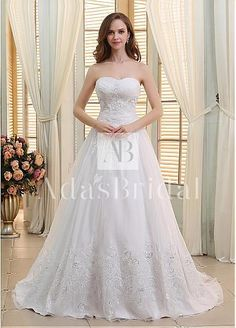 Elegant Organza Sweetheart Neckline A-line Wedding Dresses With Lace Appliques