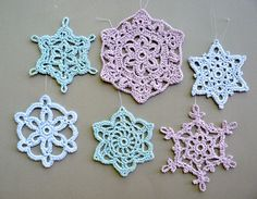 6 Multicolored Snowflakes -- Large Crochet Snowflake Assortment C9.