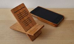 Custom Text Engraved Cherry Wood Phone Stand. by NotAScratch