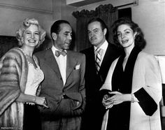 1951: A star get-together: Picture shows (l-r) Marilyn Maxwell, Humphrey Bogart, Bob Hope and Lauren Bacall (Bogart's wife).