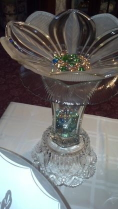 Birdbath, made from vintage estate/yard sale finds. Beautiful. Not sure I'd put this outside, maybe an indoor accent? Repurposed glass Birdbath %