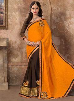 Brown N Orange Half N Half Saree