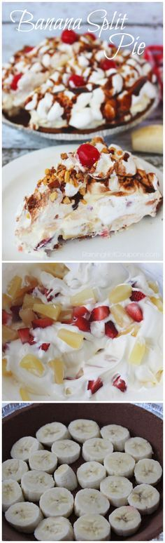 Banana Split Pie:Yummy! I love Banana Split sundaes but this next recipe is for a pie….banana split pie. It's actually quite easy to make and doesn't take a ton of ingredients. You an also add whatever other goodies you'd like to it (sprinkles, strawberry sauce and more). Enjoy this delicious pie recipe.