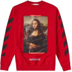 OFF-WHITE Red Diagonal Monalisa Hoodie ❤ liked on Polyvore featuring tops, hoodies, off white hoodie, hoodie top, hooded sweatshirt, off white top and red hoodie