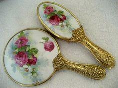 Antique Hand Mirror Brush Vanity Set Burgundy Pink Roses