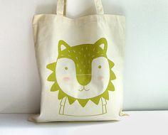 Screen printed Tote bag Lion illustration by okapiillustration