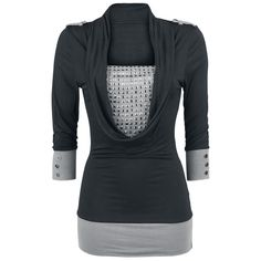 Yksinoikeudella EMP:ltä: Black Premium by EMP:n musta-harmaa pitkähihainen Studded Wide Collar -paita tekee melkoisen vaikutuksen. Niiteillä koristeltu rinta, suuri kaula-aukko ja 3/4-hihat tekevät tästä täydellisen pitkähihaisen.