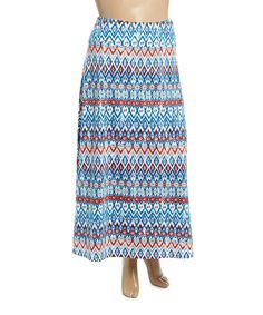 Another great find on #zulily! Blue & Red Geometric Maxi Skirt - Plus #zulilyfinds