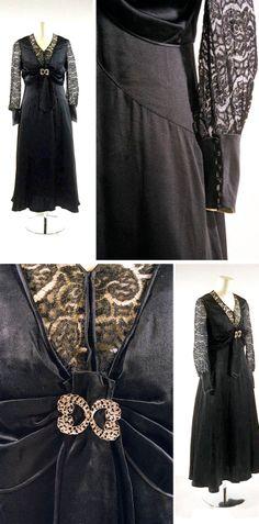 Afternoon dress, Japan, 1928. Silk satin, lace. Bunka Costume Museum