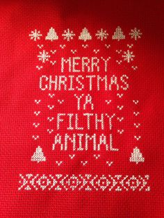 Merry Christmas Ya Filthy Animal Cross stitch PDF by TRCR on Etsy
