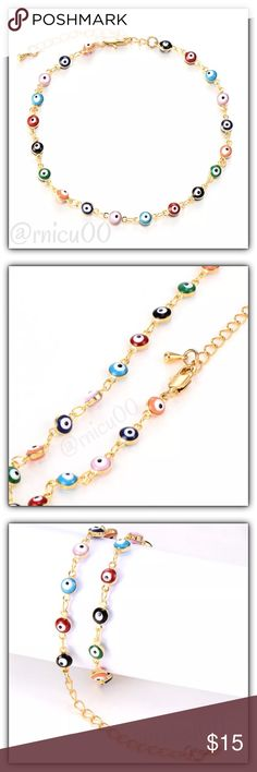 """👁1 Left!👁Boho Evil Eye Multicolor Bead  Bracelet Popular, Boho, On Trend Bracelet! Gold & Multicolor """"Evil Eye"""" Beads; Why does one wear the Evil Eye?👁 For Protection! It is believed there are 3 types of evil eyes- unconscious, intends to harm & unseen (most sacred); The Bead reflects the evil intent back to the onlooker😉  • Also Available in Turquoise & Black- See Separate Listings! • 18K Yellow Gold Filled • Lobster Clasp Closure  *NO TRADES *Prices are FIRM-Listed at Lowest Price…"""