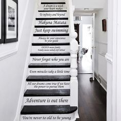 Disney Stair Decals Quotes Stairway Decals Quote 14 Steps Vinyl Stickers Disney lettering Family Home Decor Staircase Decal Welcome to IncredibleDecals Store!/b ♥♥♥You are Incredible! Staircase Decals, Staircase Design, Staircase Painting, Stair Quotes, Wall Quotes, House Quotes, Casa Disney, Disney Home, Disney Disney