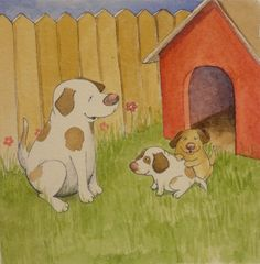 Dogs with their dog house, watercolor, pen and ink original illustration 6/7/12. $29.00, via Etsy.