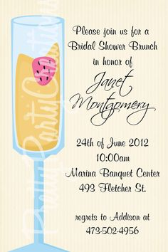MIMOSA bridal shower brunch invitation