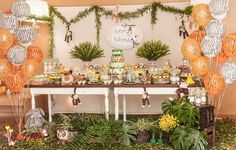 Festa Safari   Festa infantil   Party   Decoração mesa festa safari   Decoração by Mariah festas #festasafari #safari #bichos