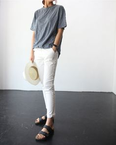 grey tee, white jeans  birkenstocks #basics #style #fashion