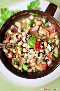 Black-Eyed Peas with Bacon ~ eat on New Year's Day for a lucky and prosperous year!