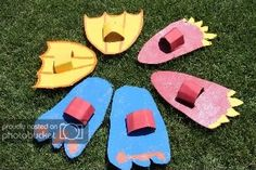 What you need: Cardboard Marker Paint Exacto Knife (or scissors) Box Tape How: Trace a large foot shapes onto cardboard and use exacto . Fun Activities For Kids, Diy Crafts For Kids, Games For Kids, Monster Birthday Parties, Birthday Diy, Foot Games, Exacto Knife, Backyard Games, Kids Church