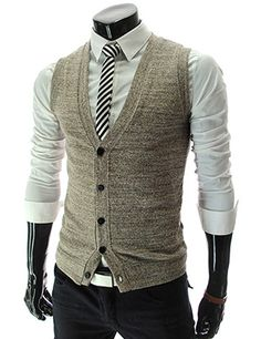slim fit 5 button gray knit vest waist coat. striped tie. white oxford. navy slacks. cool. comfortable. style.