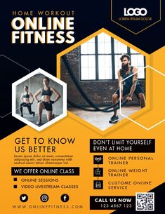 Customize this design with your video, photos and text. Easy to use online tools with thousands of stock photos, clipart and effects. Free downloads, great for printing and sharing online. Flyer (US Letter). Tags: coronavirus, exercise from home ads, fitness app ads, online fitness classes, workout ads, Fitness , Fitness Graphic Design Flyer, Flyer Design, Fitness Flyer, Fitness App, Fitness Classes, Promotional Flyers, Workout Posters, Branding Services, Sports Flyer