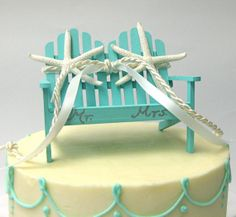 Beach Wedding - Aqua Adirondack Love Seat Wedding Cake Topper - CHOOSE from 14 RIBBONS, White or Sugar Starfish and Personalization