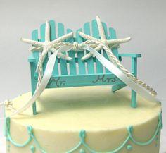 Beach Wedding - Adirondack Love Seat Wedding Cake Topper With Real Starfish…