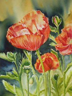 Exotic Flowers, Art Club, Landscape Paintings, Poppies, Watercolor, Portrait, Artist, Artwork, Plants