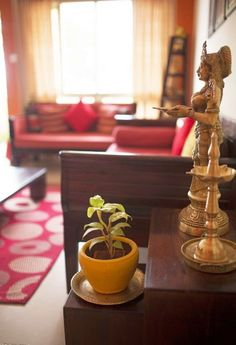 Indian style living room love the Deewan and coffee table