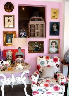 Pink Sitting Room  This is an idea for stairway....without spokes, and maybe not so cluttered