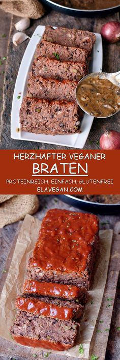 This vegan meatloaf is not only a great recipe for Christmas but also for any other occasion. It's hearty, flavorful, packed with protein, gluten-free… - New Site Meatless Meatloaf, Gluten Free Meatloaf, Vegan Meatloaf, Meatloaf Recipes, Gluten Free Seitan Recipe, Vegan Foods, Vegan Dishes, Vegan Recipes, Cooking Recipes