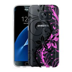 Samsung Galaxy S7 Clear Case - Black Branch With Pink Shadow
