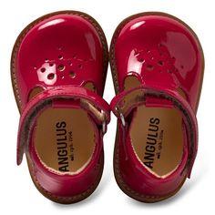 Angulus Fuchsia Patent T-bar Shoes