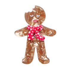 """Erstwilder Collectable Ginger The Christmas Cookie Brooch. """"Sugar and spice and all things nice. Yes I know I'm terribly tasty. But can you catch me? Christmas Love, Christmas Ornaments, Christmas 2017, Christmas Sugar Cookies, Pin Up Dresses, I Love Jewelry, Sugar And Spice, Resin Jewelry, Jewellery"""