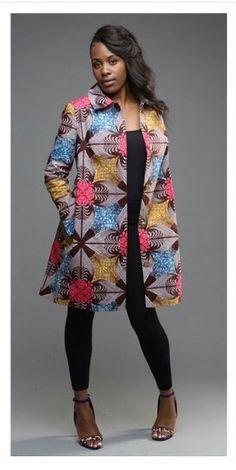 Bouffée trench-coat de adorable Coco printemps peut doubler comme un habit boutonné ou la tranchée parfaite pour un habillage, smart casual ou robe African Inspired Fashion, African Print Fashion, Africa Fashion, Fashion Prints, African Print Dresses, African Fashion Dresses, African Dress, African Prints, Ankara Fashion