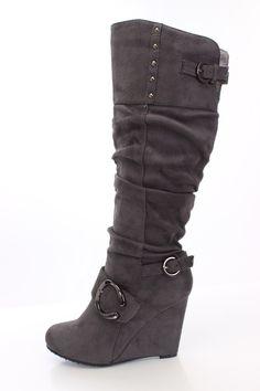 Suede Buckle Slouchy Knee High Wedge Boot